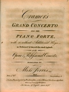 CRAMER, J.B. - Cramer's grand concerto for the piano forte with or without additional keys as performed by him with the utmost applause. Op. 10